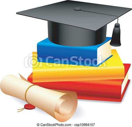 Graduation cap and books. - csp10984107