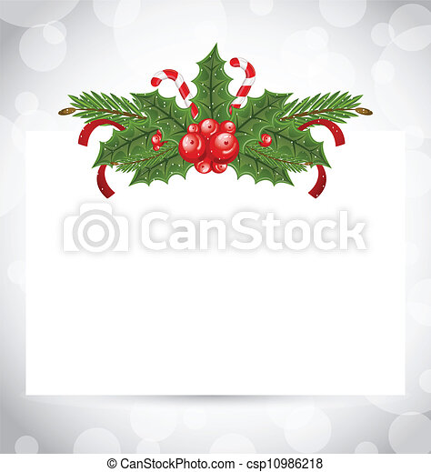 Illustration Christmas elegant card with holiday decoration (holly berry, pine, sweet cane) - vector - csp10986218