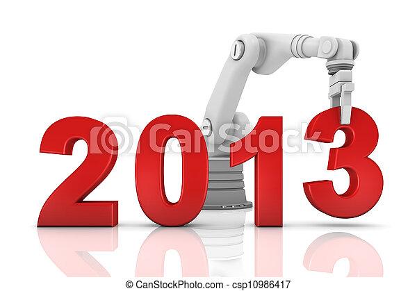 Industrial robotic arm building 2013 year - csp10986417