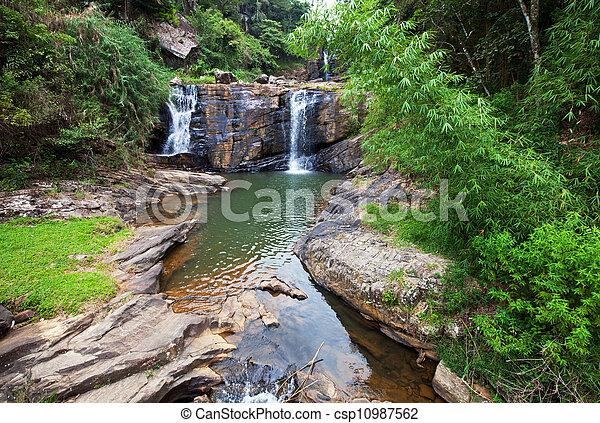 Waterfall on Sri Lanka - csp10987562