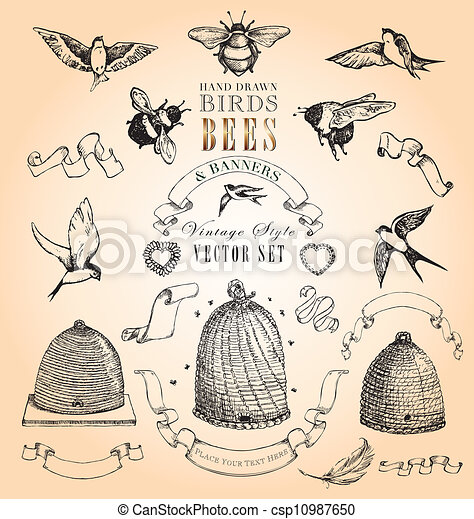 Vintage Birds  Bees an...