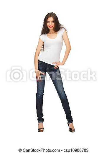 woman in blank white t-shirt - csp10988783