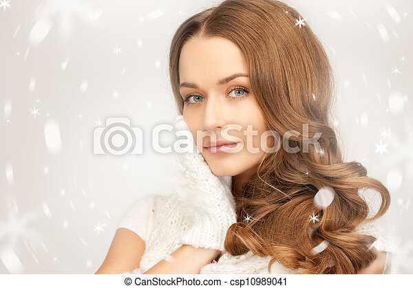 beautiful woman in white gloves - csp10989041