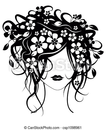 Beautiful girl with flowers in hair - csp1098961