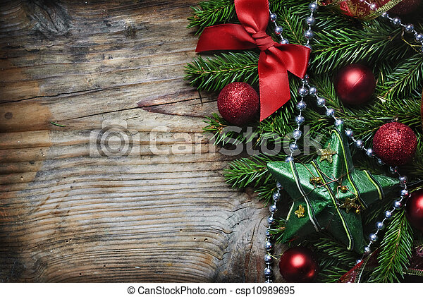 木製である, クリスマス, 背景 - csp10989695