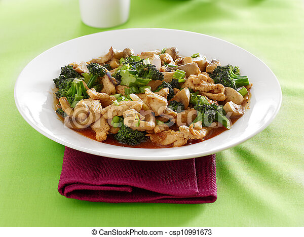 chinese food - chicken and broccoli stir fry - csp10991673