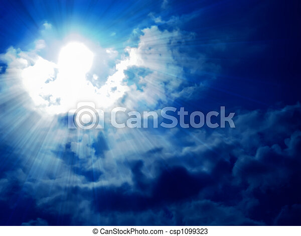 dark blue sky, white soft clouds and sun
