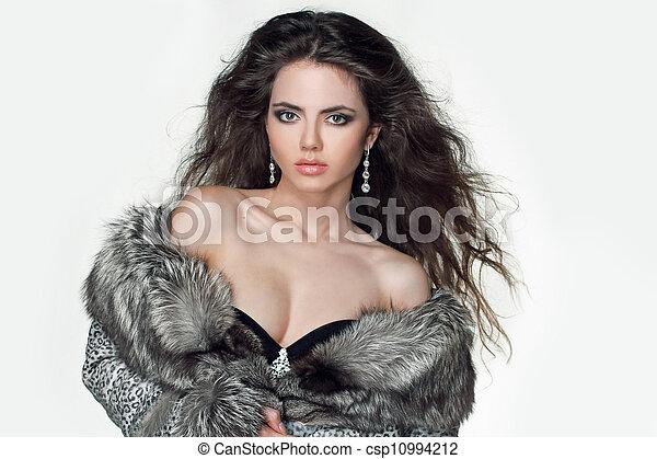 Fashion elegant Girl in Luxury Fur Coat, brunette hair