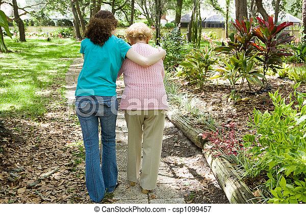Helping Grandmother Walk - csp1099457