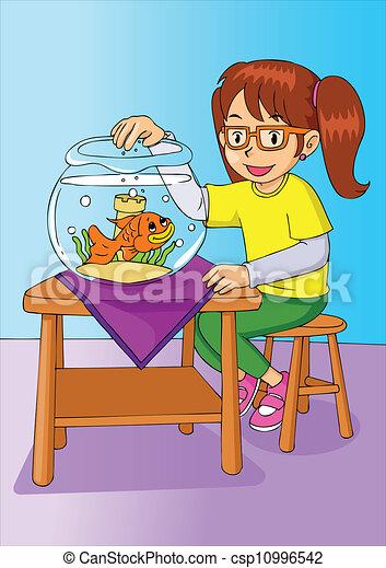 Vecteur eps de poisson rouge girl cartoon illustration for Nourrir des poissons rouges