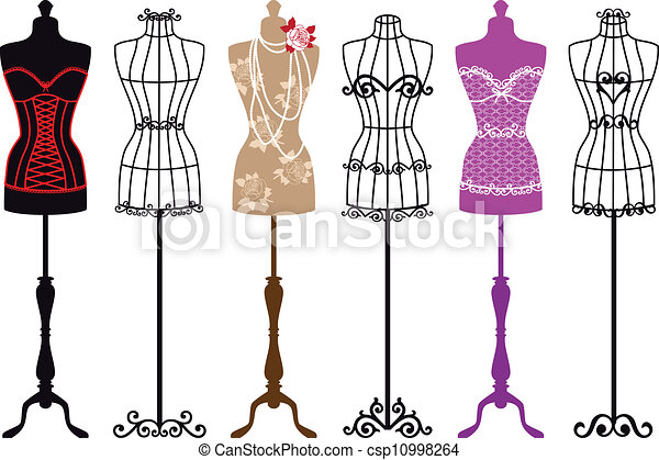 vendimia, moda, maniquíes - csp10998264