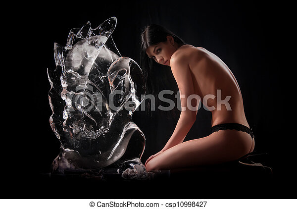 woman and a crystal statue - csp10998427