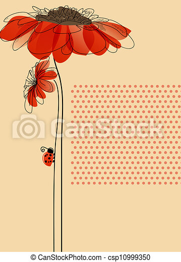 Elegant vector card with flowers and cute ladybug - csp10999350