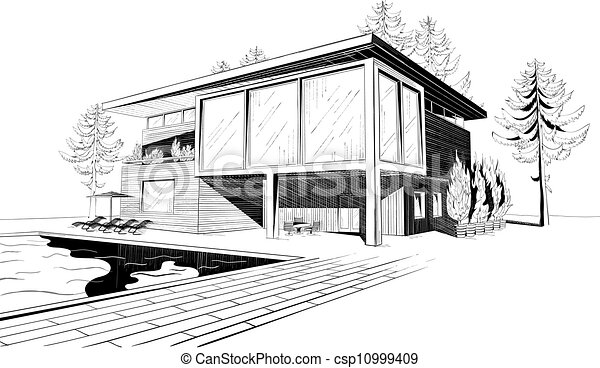 27 maison moderne swimmingpool csp10999409 - Maison Moderne Dessin