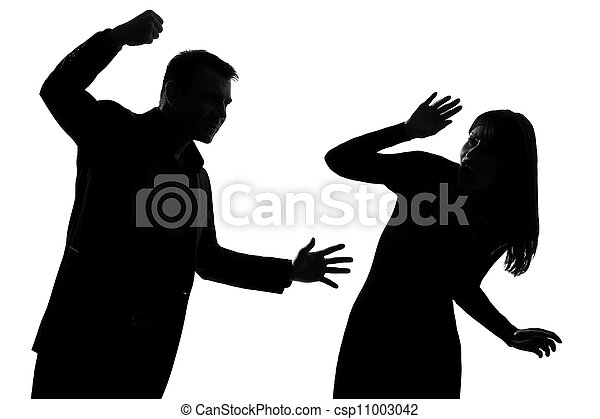 one couple man and woman domestic violence - csp11003042