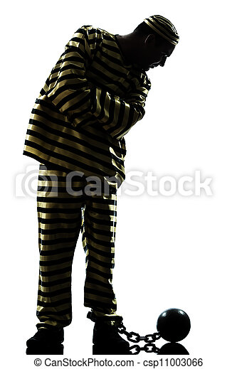 man prisoner criminal with chain ball - csp11003066