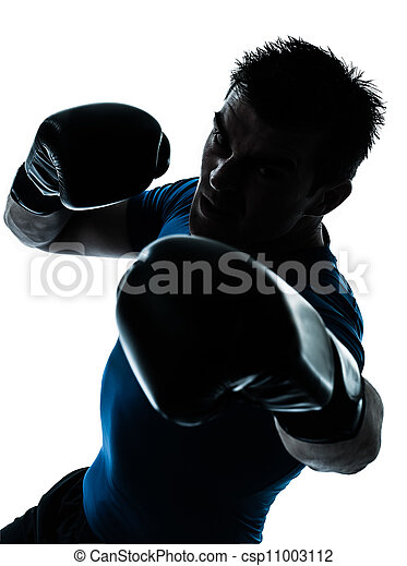 man exercising boxing boxer posture - csp11003112
