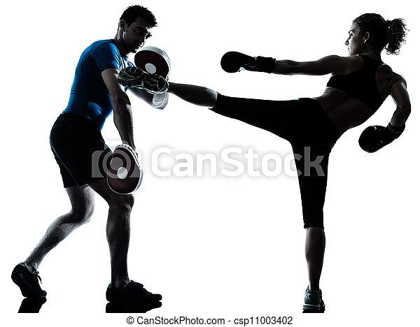 man woman boxing training - csp11003402