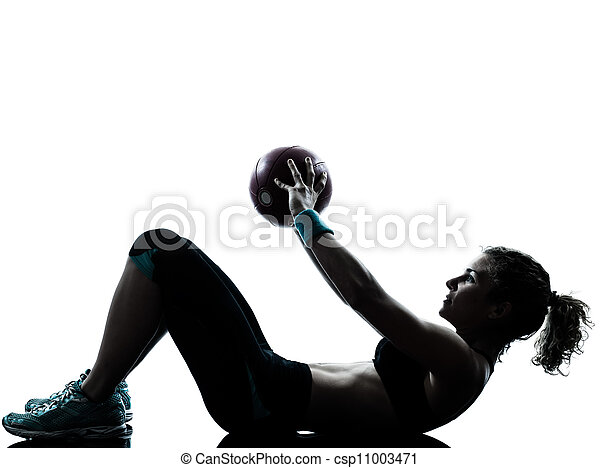 woman exercising fitness ball workout   - csp11003471
