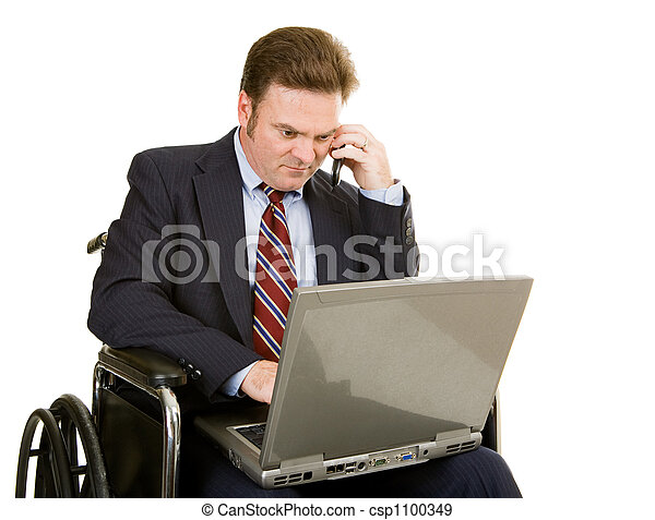 Disabled Businessman Connected - csp1100349