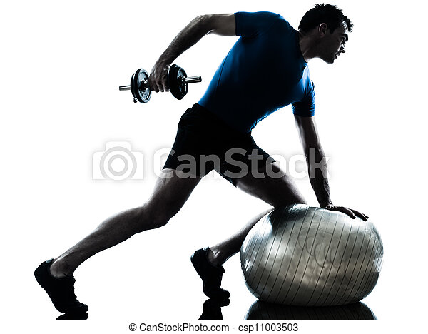 man exercising weight training workout fitness posture - csp11003503