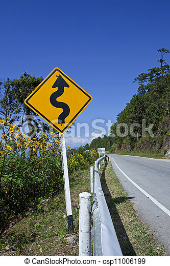 Curved Road Traffic Sign - csp11006199