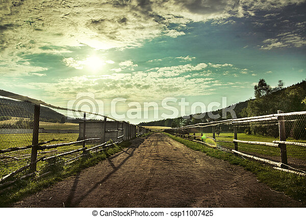 Beautiful view of the sunset in a field on a rural road - csp11007425