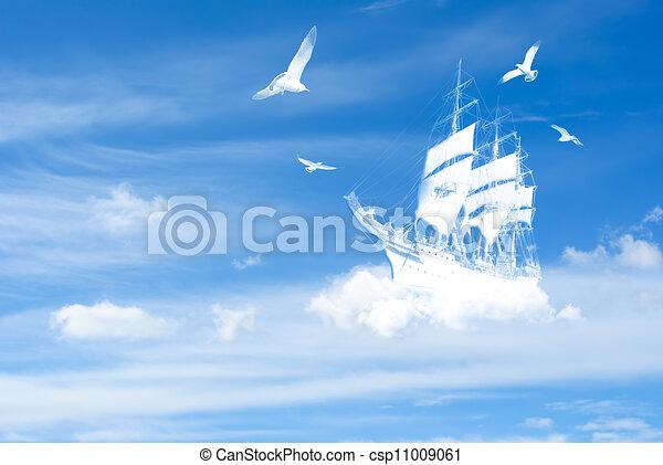 Fantasy ship in clouds - csp11009061