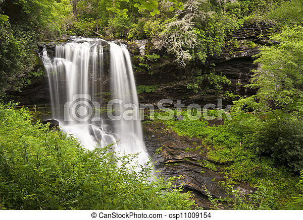 Dry Falls Highlands NC Waterfalls Nature Landscape Western North Carolina Blue Ridge Mountains natural outdoors scenery - csp11009154