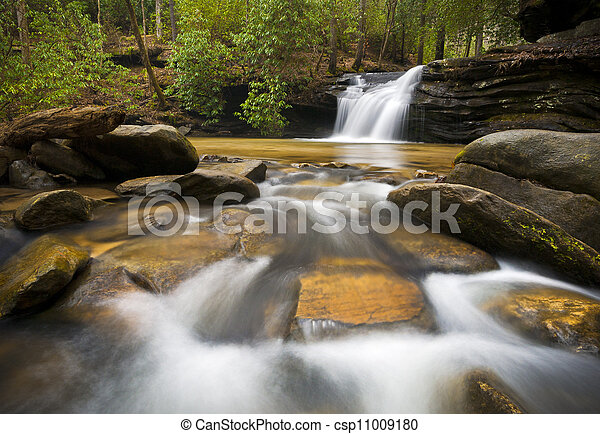 SC Waterfall Landscape Photography Blue Ridge Mountains Relaxing Nature image with peaceful flowing water - csp11009180