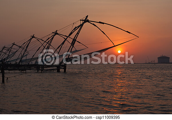 Chinese fishnets on sunset. Kochi, Kerala, India - csp11009395