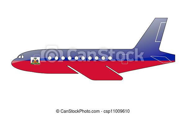 Clipart von gemalt, flugzeug, Fahne, silhouette - der, haiti ...