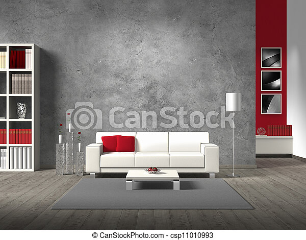 modern fictitious living room with white sofa and copy space for your own image/photos on the concrete wall behind the sofa; the photos in the background are taken by me - no rights are innfringed - csp11010993