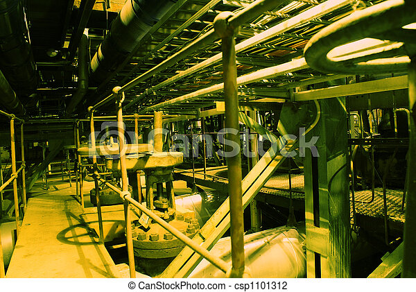 Equipment, cables and piping as found inside of a modern industrial power plant             - csp1101312