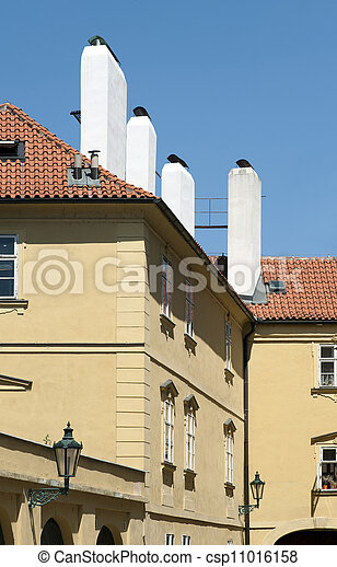 Historic house with white chimneys - csp11016158