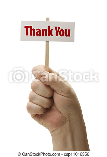 Thank You Sign In Fist On White - csp11016356