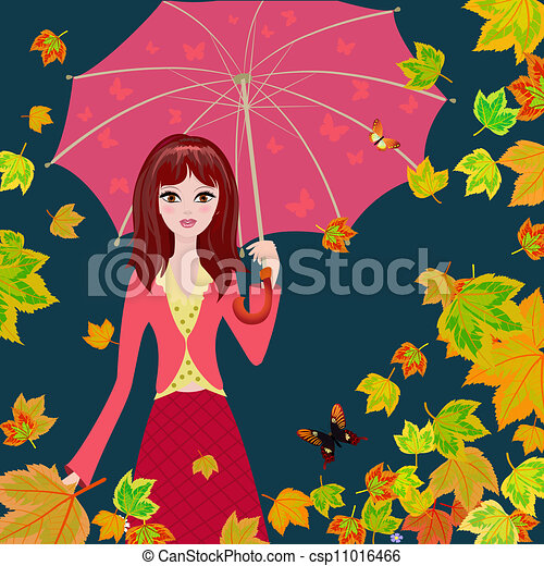 Girl with an umbrella in the autumn falling leaves - csp11016466