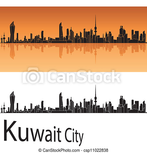 Kuwait City skyline in orange background - csp11022838