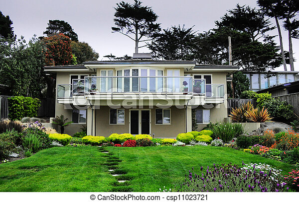 Carmel house garden view - csp11023721