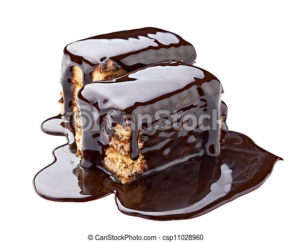 chocolate syrup and  cake sweet dessert food - csp11028960