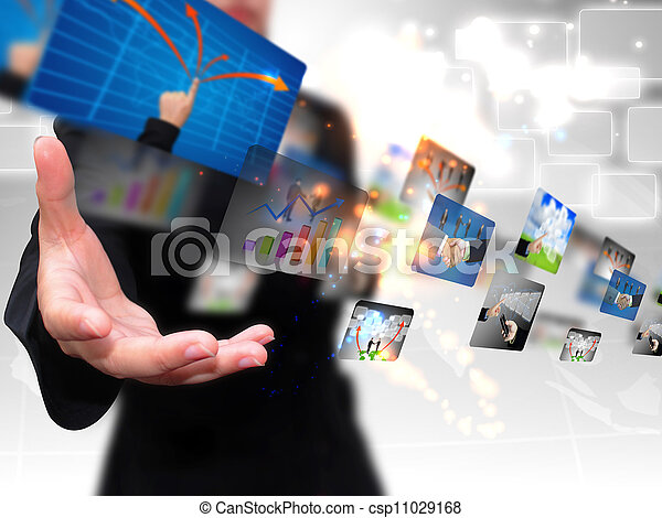 businesswoman holding business collection  - csp11029168