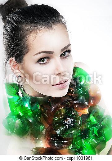 Amazing young woman art portrait closeup. Studio shot - csp11031981