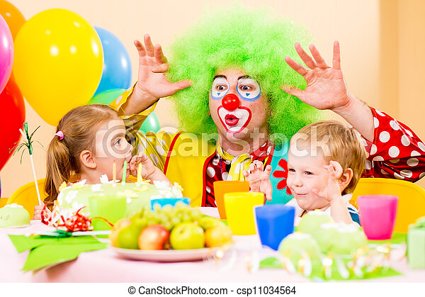 happy kids with clown on birthday party - csp11034564