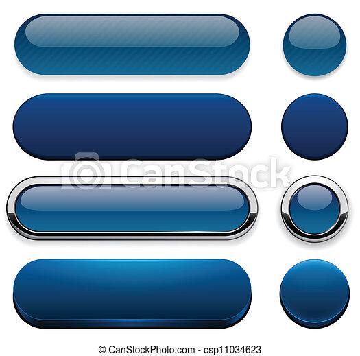 Dark-blue high-detailed modern web buttons. - csp11034623