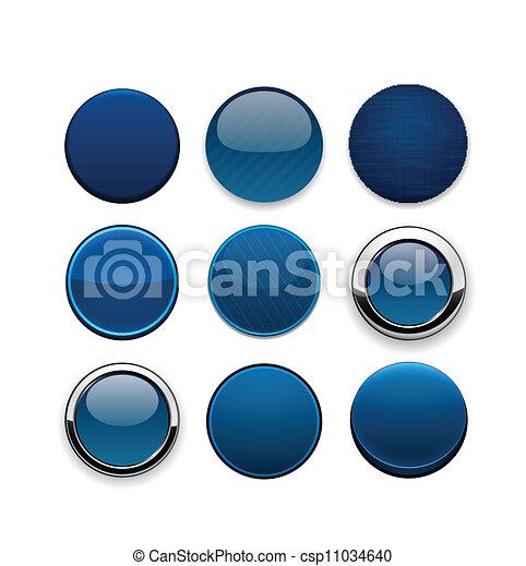 Dark-blue round high-detailed modern web buttons. - csp11034640