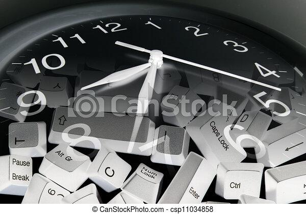 llaves, computadora, reloj - csp11034858