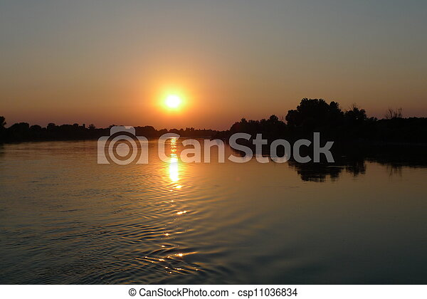 sunset on po river - csp11036834
