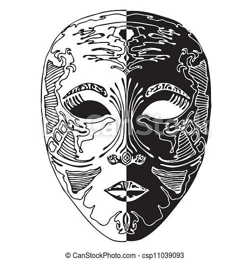 Vecteurs eps de blanc noir masque combination noir for Dessin graphique noir et blanc