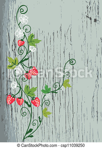 Strawberry on the wood texture background - csp11039250