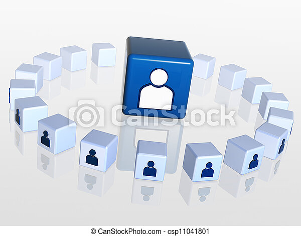 cubes with person signs